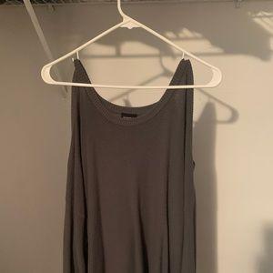 Gray off shoulder longer sleeve shirt